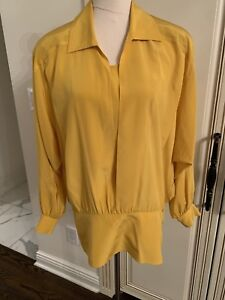 Womens Vintage Designer ESCADA Yellow Long Sleeve 100% Silk Blouse Size EU 40