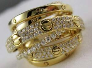 DESIGNER WIDE PAVE DIAMOND 18K Y GOLD MULTI ROW BAND CROSSOVER RING 20M R07524YT