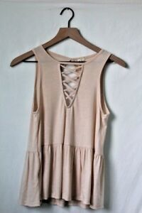 Sky and Sparrow Cream Peplum Tank Top Keyhole Back Size Small