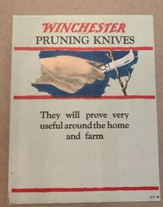 Vintage WINCHESTER Double Sided ADVERTISING CARD Pruning KnivesPruning Shears