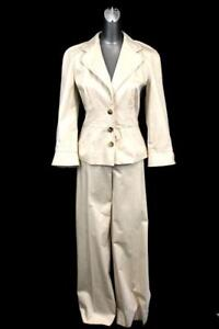 womens beige tan ESCADA PANT SUIT blazer jacket designer modern career S M 36 40