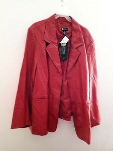 MAGGIE BARNES Red Leather Jacket - Size 5X