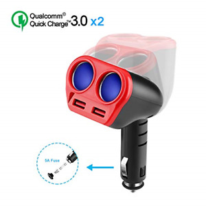 Opluz Dual Fast USB Charger 2.4A QC 3.0 Power Adapter + 80W 2-Socket Auto Car 5A