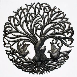 Winter Tree of Life with Birds Art Metal Home Office Wall Decor Sculpture 24