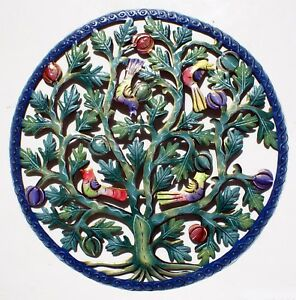 Colored Tree of Life with Birds Fruits Metal Wall Art Decor Sculpture Haiti 24