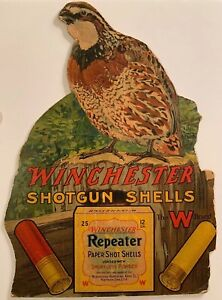 WINCHESTER REPEATER SHOT SHELL CASE INSERT ADVERTISING HANGER-Quail Yellow