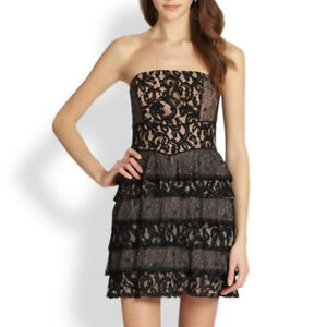 $338 BCBG MAXAZRIA Ellie Black Mixed Lace Strapless Tiered Cocktail Dress 0246