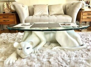ULTRA HIP VINTAGE 60s WHITE PANTHER COFFEE TABLE BEVELED GLASS COLLECTIBLE!