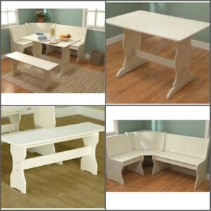 Dining Table Set 3 Piece Modern Bench Kitchen Corner Nook Furniture Indoor New