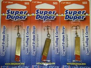 LUHR JENSEN SUPER DUPER TROUT FISHING LURES #1303-503-0131 BRASS REDHEAD 3 PK