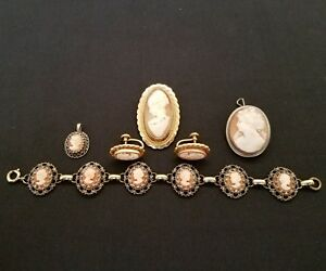 Vintage sterling silver 800 silver gold fill cameo bracelet earrings pendant
