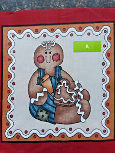 GINGERBREAD Boy or Girl Cotton Cut Squares 10 Designs GREAT FOR QUILTING $1.99