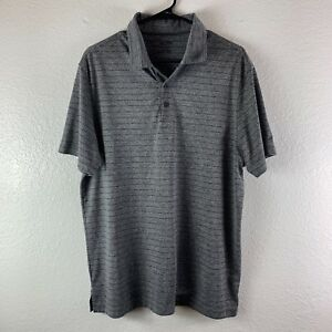 Champion Men's Polo Shirt GrayBlack striped Duo Dry Fit Size Large