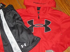 NWT UNDER ARMOUR YOUTH BOYS 56 Sewn Logo Zip-UP Sweatshirt & Shorts Outfit
