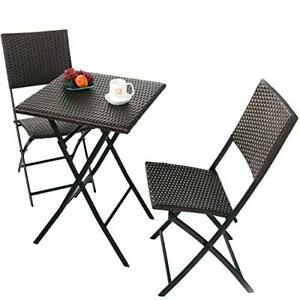 Stylish Parma Rattan Patio Bistro Set Weather Resistant Outdoor Furniture Set