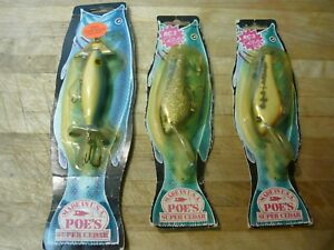 Vintage 1987 POE'S SUPER CEDAR Lures Made in USA NOS  Lot of 3