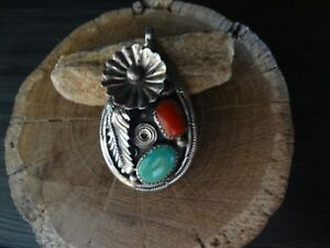 Navajo Pendant Sterling Silver with Turquoise and Coral Signed