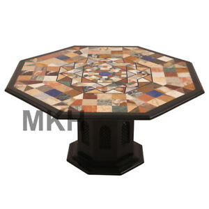 Coffee Table Marble Stone Inlay End Table Top Vintage Mid Century Italian Style