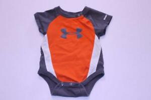 Infant Baby Under Armour Sz 0 3 Mo. Creeper Orange Grey White $12.99