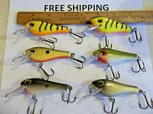 VINTAGE Poe's RC 1 Coffin (Square) Bill LOT OF 6 GREAT COLORS USED TACKLE LURES