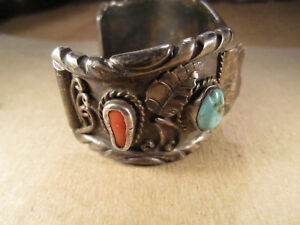 Vtg Mens Sterling Silver & TurquoiseCoral Watch Cuff Bracelet Signed JY 96.8g