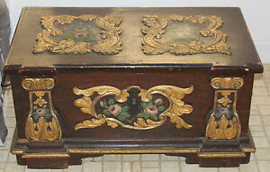 ANTIQUE 18th Ce. Folk SWEDISH WEDDING CHEST - Hand Painted Embossing
