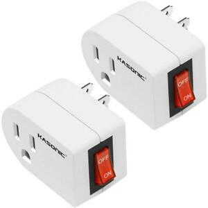 3 Prong Grounded Outlet Adapter 2 Pack ETL Listed Wall Tap Adapter for Home
