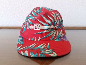 VTG Walt Disney World Hat Cap Hawaiian Floral Tropical Snapback Red USA Made