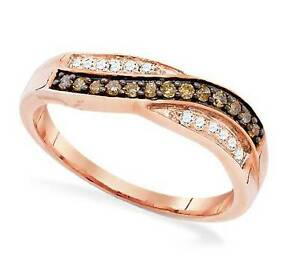 10K Rose Gold Chocolate Brown & White Diamond Ring Twist Design Band .25ct