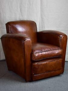 Pair of Art Deco square-backed club chairs