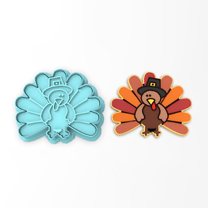 Turkey Pilgrim Cookie Cutter amp; Stamp #1 Thanksgiving Feast Family Fall Autumn $18.80