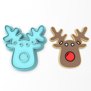 Reindeer Face Cookie Cutter 2-Piece, Outline & Stamp #1 Christmas Winter Snowday