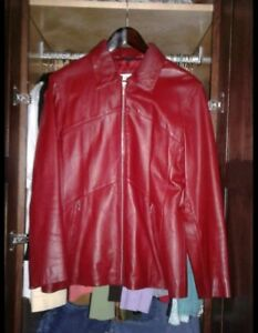 EXCELLED LADIES LARGE RED LEATHER JACKET Full-Zip Very Soft & Smooth