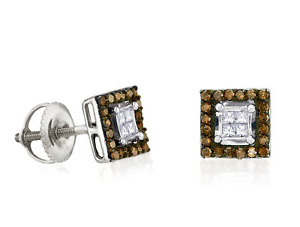 Chocolate Brown & White Diamond Earrings 10K White Gold Square Cluster Studs