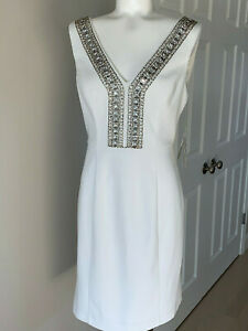 $168 NEW NWT ELIZA J White Embellished COCKTAIL BACHELORETTE CRUISE DRESS 6