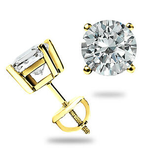 2.00CT ROUND CUT CREATED DIAMOND EARRINGS 14K SOLID YELLOW GOLD STUDS SCREW BACK