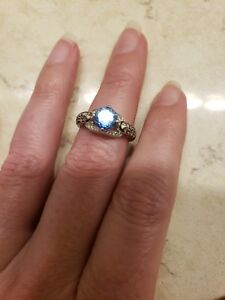 levian blue topaz and chocolate diamond ring size 7