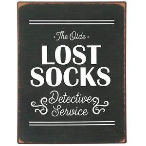 NIKKY HOME Lost Socks Vintage Metal Wall Plaque Laundry Room Signs 10*13-IN New