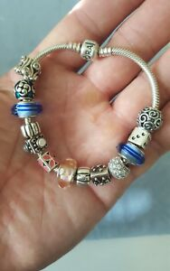Pandora authentic sterling silver loaded with 13 charms bracelet perfect shape