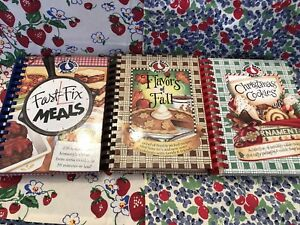 GOOSEBERRY PATCH COOKBOOKS SET OF 3 FAST & FIXFLAVORS OF FALLCHRISTMAS COOKIES