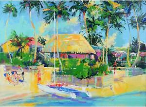 White Boat Tropical Scene Red Boat Original Artwork - Fanatics