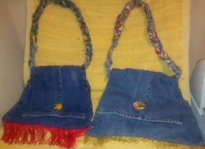 Levi's Bag Tote Jean HANDMADE Tropical Lining Ladies Purses 1- Large