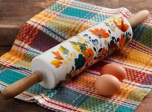 Pioneer Woman Rolling Pin Autumn Harvest Ceramic Wood Handles Fall Flowers NEW
