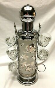 VINTAGE 50s-60s SILVER & FROSTED GLASS COCKTAIL SHAKER PUMP W GLASSES & CADDY