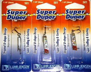 LUHR JENSEN SUPER DUPER TROUT FISHING LURES #1303-501-0150 CHROME SLV PLT 3 PK