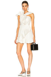 SELF PORTRAIT ASYMETRIC RUFFLE Lace DRESS in White LWD $545 Cocktail NEW