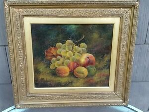 RARE W SPENCER SIGNED OIL PAINTING MUST SEE STUNNING STILL LIFE FRUIT RARE EARLY