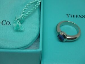 18K White Gold Tiffany & Co. France Bullet Shape Iolite Solitaire Ring size 4