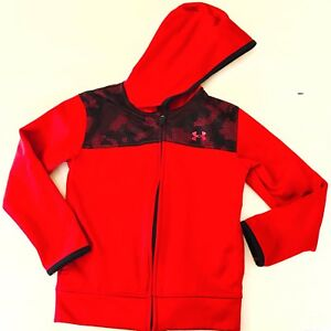 Under Armour Boys 7 Jacket Hoodie Track Sports Red Black Athletic Hooded Coat