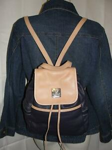 I Medici Firenze Purse Blue Tan Pebbled Leather Drawstring Flap Backpack Tote